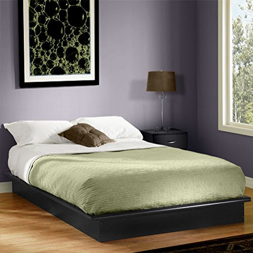 Queen Platform Bed With Molding, Black, Black Laminated Finish, No Box Spring Required front-840454