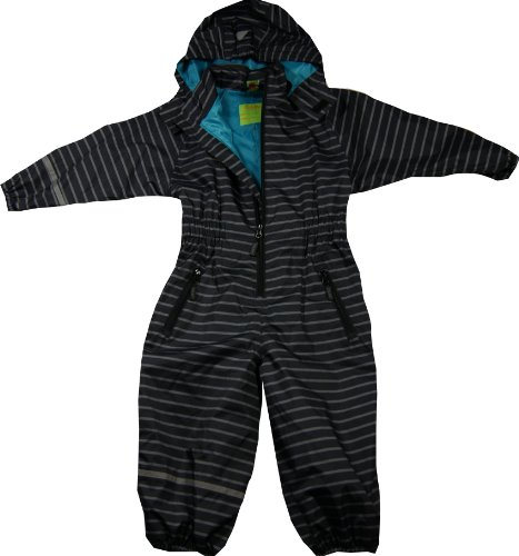 CELAVI rain suit boy, striped black -silver allover, WS 3000 waterproof, breathable