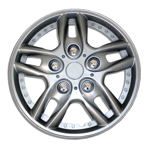 TuningPros WSC-515S15 Hubcaps Wheel Skin Cover 15-Inches Silver Set of 4 (2010 Honda Fit Hubcap compare prices)