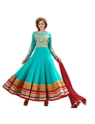 Fabefy Turquoise Pure Georgette Party Wear Anarkali Suit