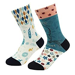 J'colour Big Boys' Full Print Funny Birthday Gift Thick Athletic Tube Socks 2-Pack