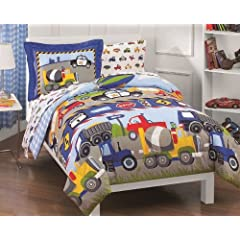 Trucks Tractors Cars Boys Blue and Red 5-Piece Twin Comforter Sheet Set