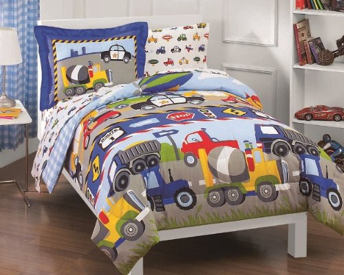 Review Of Trucks Tractors Cars Boys Blue and Red 5 Piece Twin Comforter Set