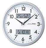 MAG(マグ) 電波壁掛け時計 エアダブル 温度・湿度表示 夜間秒針停止機能付き シルバーメタリック W-590SM