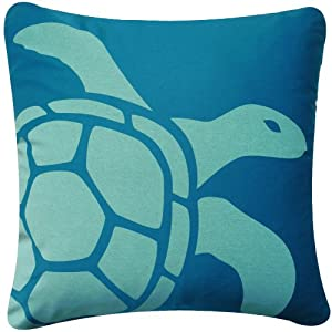 Wabisabi Green Blue Turtle 18 x 18 Inch Decorative Modern Square Throw Pillow Cover
