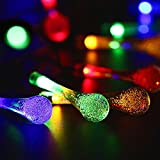 Solar String Lights Water Drop, Outdoor 30 LED Fairy Lights, Waterproof Garden, Fence, Christmas, Tree, Home, Holiday, House, Yard, Wedding, Party Decoration Lighting - Multi Colour, 21ft, 8-in-1 Mode