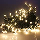 PMS 100/200/300/400/500 LED String Fairy Lights on Green Cable with 8 Light Effects, Ideal for Christmas, Xmas, Party,Wedding,etc (Warm White, 400 LEDs)