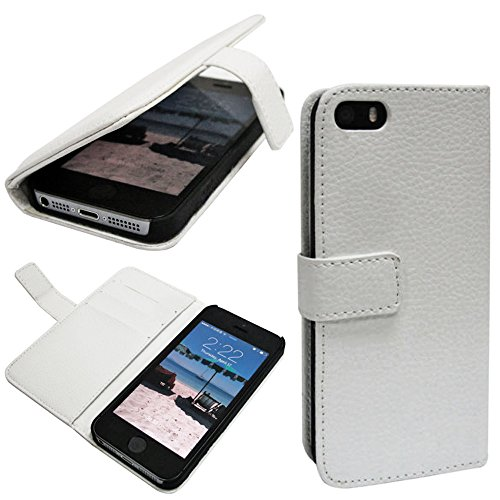 Mylife (Tm) Dove White - Modern Design - Textured Koskin Faux Leather (Card And Id Holder + Magnetic Detachable Closing) Slim Wallet For Iphone 5/5S (5G) 5Th Generation Itouch Smartphone By Apple (External Rugged Synthetic Leather With Magnetic Clip + Int