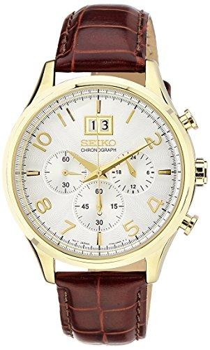 Seiko Dress Chronograph White Dial Mens Watch - SPC088P1