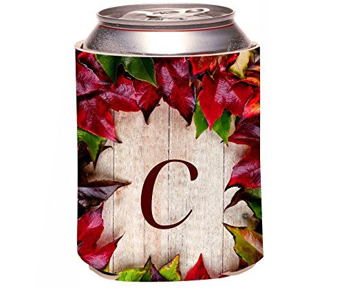 Rikki Knighttm Rikki Knight - Letter C Monogram Initial Rustic Fall Leaves On Wood Flooring Background Design Drinks Cooler Neoprene Koozie