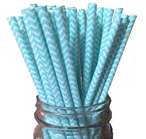 Premium Paper Drinking Straws (Blue Chevron) for Holiday, Anniversary, Birthday, Graduation, Wedding, Bridal & Baby Parties. 100% Biodegradable Vintage, Retro and Fun Paper Straws. Pack of 50. (Baby Blue Mason Jars compare prices)