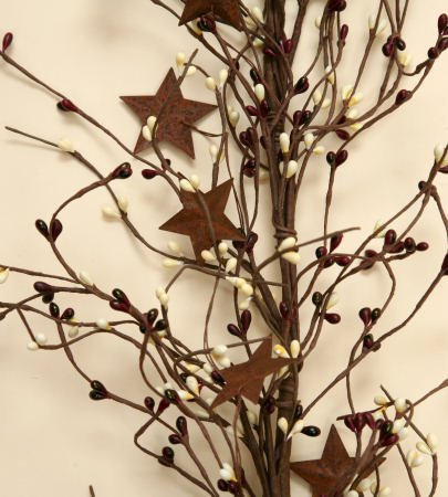 Your Heart's Delight Primitive Berries and Rusty Stars Garland, 72-Inch