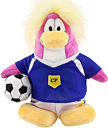 Disney Club Penguin 6.5 Inch Series 8 Plush Figure Girl Soccer Player Includes Coin with Code! - 1