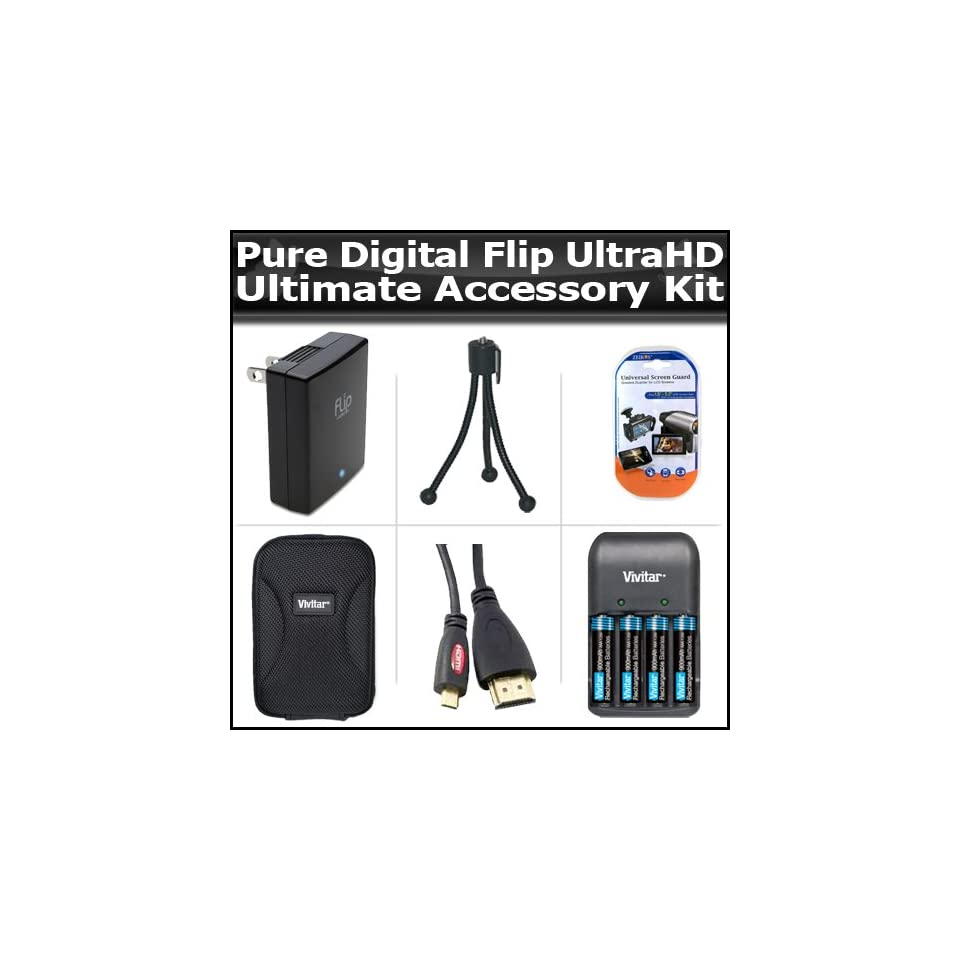 Ultimate Accessory Kit For The Flip UltraHD Video Camera Camcorder 2HR. 3rd Generation U32120B, U32120W NEWEST MODEL Includes Slim Protective hard Case + Flip Power Adapter APA1B + Mini Tripod + 4 AAA Batteries And Charger + Micro HDMI Cable + More  Digit