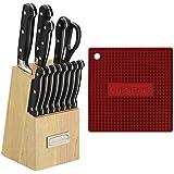 Cuisinart Square Silicone Trivet/Pot Holder (Red) and 14-Piece Block Knife Set Bundle