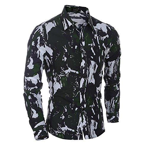 SU Camuffamento casual/slim/a maniche lunghe camicia uomo , green camouflage , xl