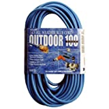 Coleman Cable 02469 14/3 SJTW Low-Temp Outdoor Extension Cord with Lighted End, 100-Foot