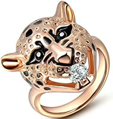 buy Gnzoe Jewelry, Gold Plated Austrian Crystal Leopard Head Size 7 Rose Gold Promise Ring For Her