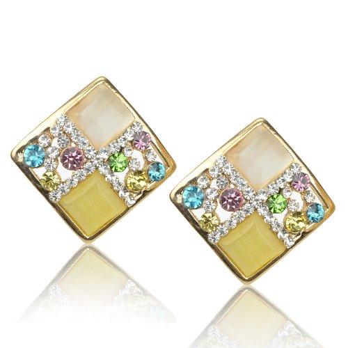 Ladies Multicolor Rhombus Cat Eye Gem Rhinestone Golden Tone Stud Earrings B1757K