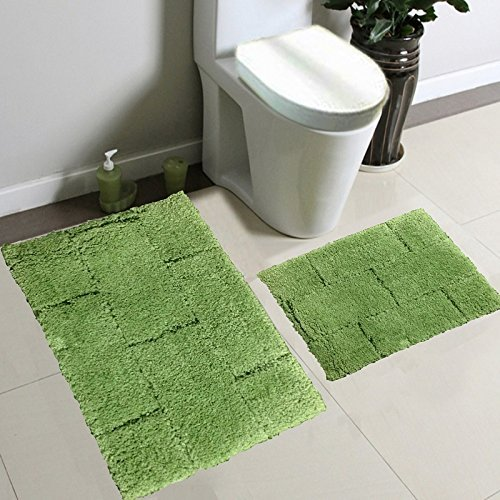 Fancy Collection 2pc Solid Microfiber Bath Mat Set (Lime Green)