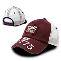 Maroon USMC Marines Vintage Patch Military Mesh Cap by Rapid Dominance