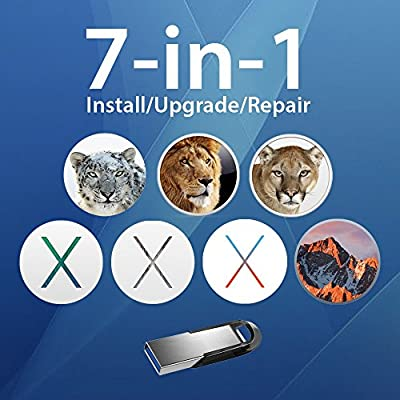 7-in-1 Mac OS X Installer - Sierra, El Capitan, Yosemite, Mavericks, Mountain Lion, Lion, Snow Leopard on Bootable USB Disk. Instructions included.