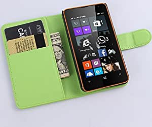 Nokia Lumia 430 Case,[Magnetic Closure] Leather Flip Cover with Folding Stand, ID holder, Credit Card Slots for Nokia Lumia 430 (Wallet Green)
