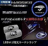1年間保証!LEDカーテシランプ ロゴ 30系/60系 ハリアー ハリアーNEWエンブレム ブルー RZ390