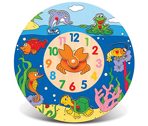 Puzzled Ocean Life Wooden Toys Wooden Clock - 1