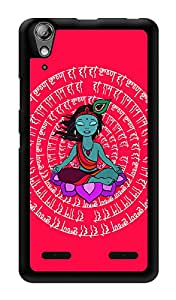 """Humor Gang Krishna Meditating Peace Mantra- Red Printed Designer Mobile Back Cover For """"Lenovo A6000 Plus"""" (3D, Glossy, Premium Quality Snap On Case)"""