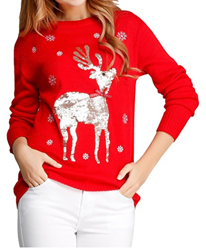 V28 Women Girl Ugly Christmas Shining Reindeer Snowflake Pullover Sweater Jumper (M, Red Col)