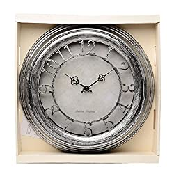 Maytime Antique Vintage Stylish Round Wall Hanging Clock, Retro Train Station Home Decor Clock,14 Inch Silver