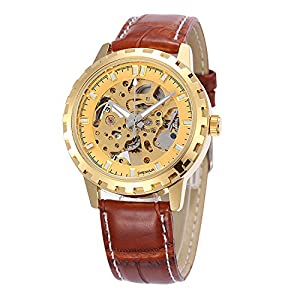 GBI Unisex Noble Skeleton PU Leather Automatic Mechanical Men/Women Wrist Watches-Black