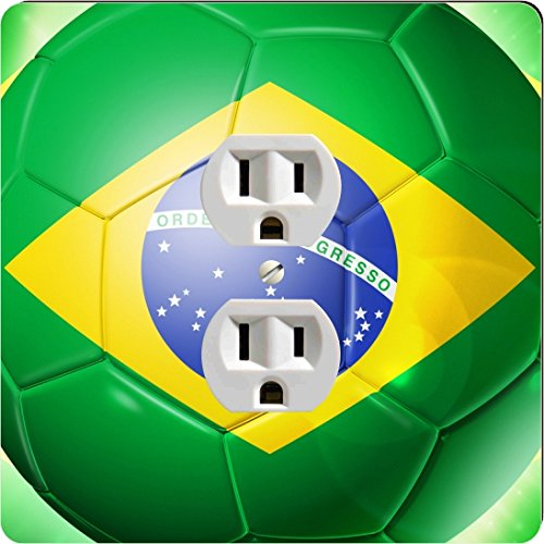 Rikki Knighttm Brazil World Cup 2014 Brazil Brasil Team Football Soccer Flag Single Outlet Plate