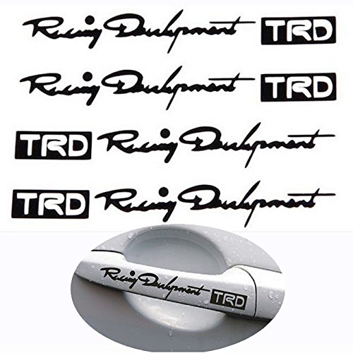 FULL WERK 4pcs TRD Hollow Personalized Car Door Handle Decals Reflective Auto Car Stickers (Black) (Personalized Car Accessories compare prices)