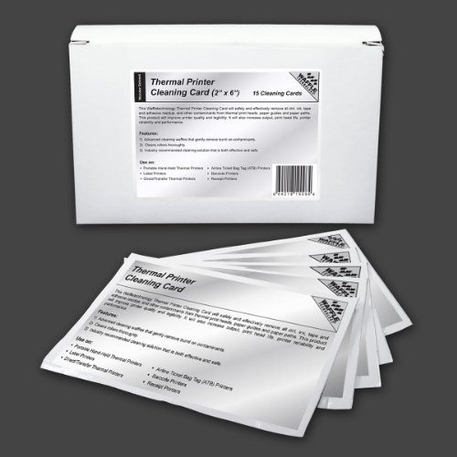 """Waffletechnology 2"""" - 50.8mm Thermal Printer Cleaning Card w/ Wonder Solvent (15 cards)"""