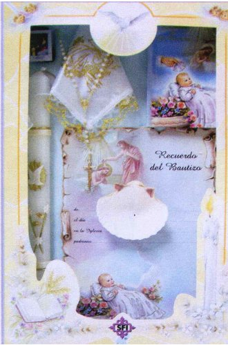Baptism Gift Sets - Rosary - Sculptured Candle - Missal - Hanky - Shell - Gift Box 16in.x10in. - SPANISH, Girl