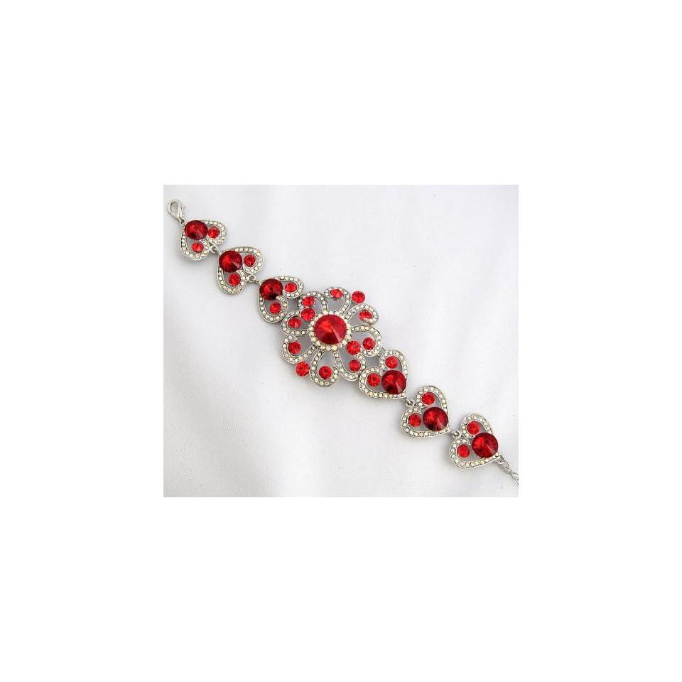 Wedding Prom Big Red Crystal Rhinestone Flower Bracelet 01