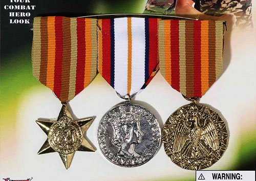 3 X Millitary Medals Arm Fancy Dress War Time Hero Medal Soldier Fancy Dress