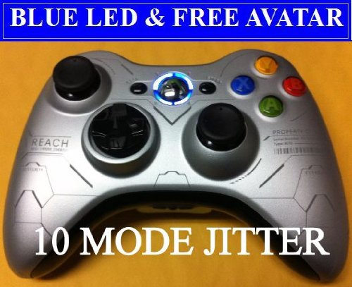 Silver Halo Reach Edition 10 Mode Xbox 360 Modded Rapid Fire Wireless Controller with Blue Led.