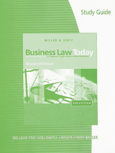Study Guide for Miller/Jentz's Business Law Today,...