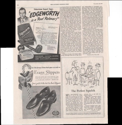 Edgeworth Pipe Tobacco Evans Slippers Home 1948 Vintage Antique Advertisement
