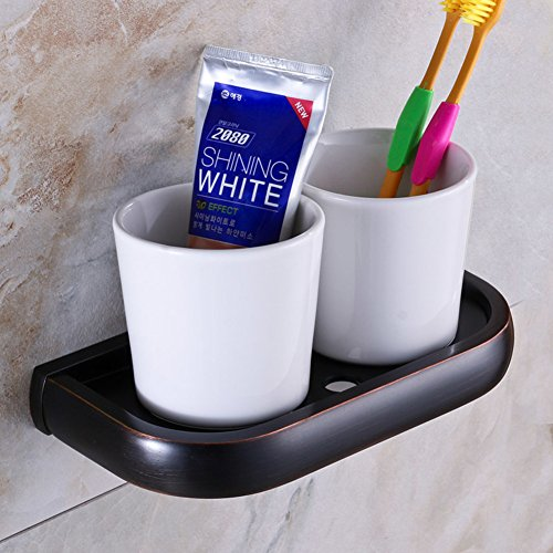 Toothbrush cup holder/Tumbler holder/Full black antique copper dual cup holders