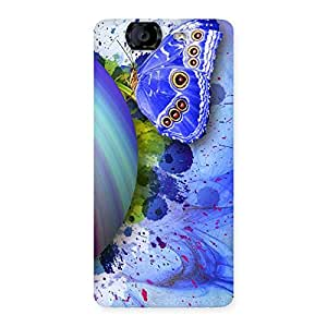 Blue Shell Butterfly Back Case Cover for Canvas Knight A350