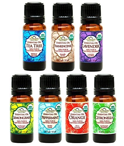 US Organic - 7 Essential Oil Collection, USDA Certified Organic. Therapeutic Grade. (Includes Citronella, Frankincense, Lavender, Lemongrass, Peppermint, Sweet Orange & Tee Tree) ((10ml /.33 fl oz))