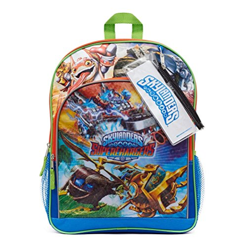 Skylanders Superchargers Card Sleeve Backpack with Side Mesh Pockets, Pencil Pouch and Sticker Sheet