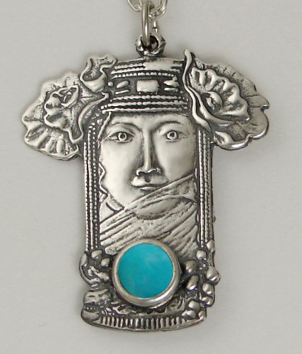 The Veiled Goddess Pendant in Sterling Silver, Accented with Genuine Turquoise ...Jewelry Made in America