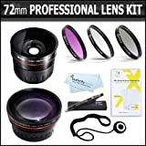 72mm Professional Lens Kit Includes HD .45x Wide Angle Lens + 2.2x HD Telephoto Lens + 3pc High Res. Glass Filter Kit + More For Canon XL-H1s, XL-H1a, XH-G1s, XH-A1s, XL2, XL1 High Definition Professional Camcorder ~ ButterflyPhoto