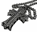 3D 50 Cent Cross & CZ Stone chain Hip Hop Bling Combo - Silver Plated