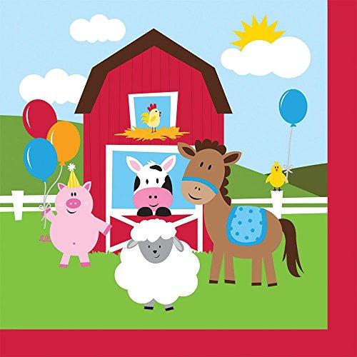 Farmhouse Fun Luncheon Napkin (16) Farm Animal Barnyard Party